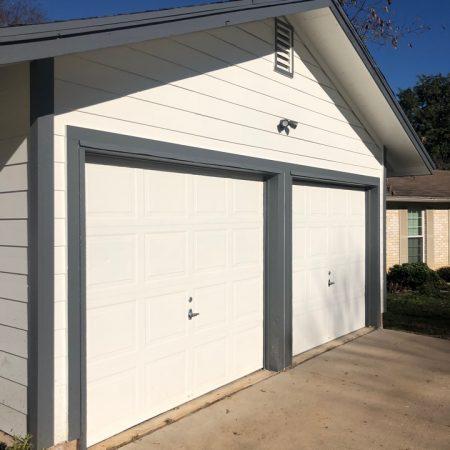 white painted garage