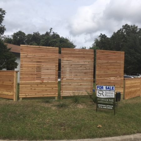 Tall wood fencing